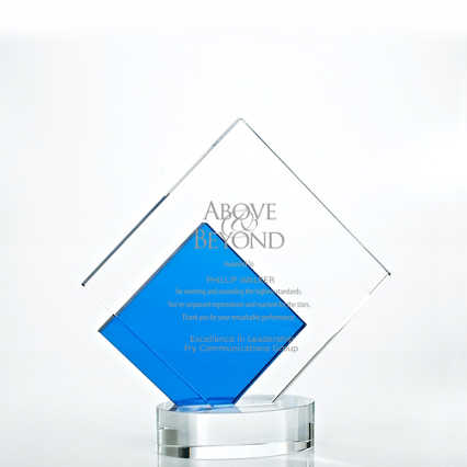 Royal Blue Accented Double Pane Trophy - Diamond